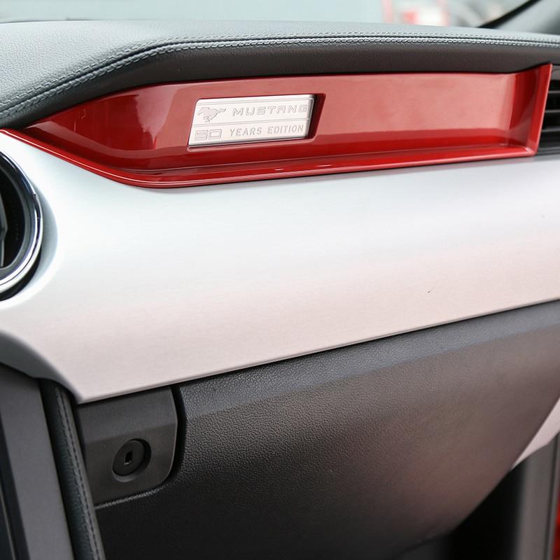 Image 2 - MOPAI Автомобильный Интерьер Литье Copilot сиденье украшение приборной панели полосы отделка ABS наклейки для Ford Mustang 2015 до стайлинга автомобилей-in Лепнина для интерьера from Автомобили и мотоциклы