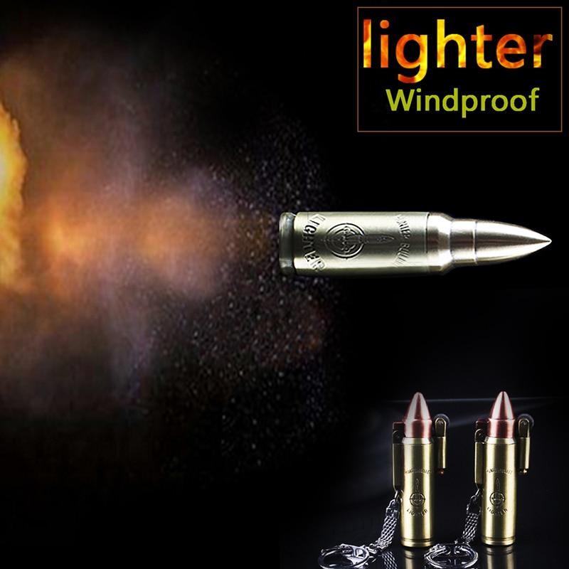 Mini Kerosene Oil Lighter Men Retro Bullet Lighters Key chain pendant Cigarette Metal gasoline Lighters tools
