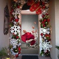 جديد 3d ملصقات لصق سانتا كلوز يركب دراجة إرسال الهدايا الباب ملصقا لعيد الميلاد حزب ديكور 200x77 cm