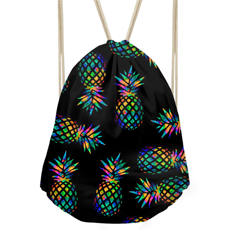 THINK Cartoon Pineapple 3D Printing Bunch Pocket Girls Shoulder Bags High Capacity Women Drawstring Bag Travel Pouch School Bags
