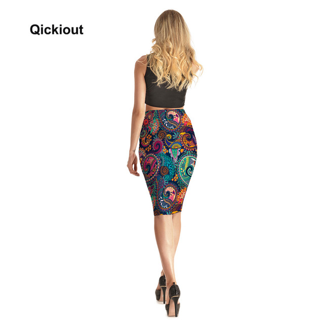 Qickitout Skirts Fitness New 2017 Fashion Women's Sexy Aztec Round Ombre Skirts High Waist Package Hip Skirt Saia Midi Plus Size 5