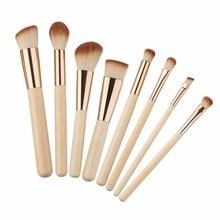 8pcs/lot Professional Bamboo Makeup Brushes Set Kit Eyebrow Eyeshadow Powder Foundation Brush Cosmetics Make up Tools 2017 цена