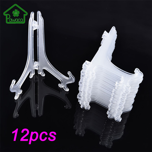 12Pcs/Set Clear Plastic Easels Plate Holders Display Dish Rack ...