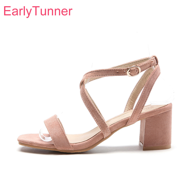 2aa5cf96c8c Brand New Summer Sexy Beige Pink Women Nude Sandals Fashion Chunky Heels  Lady Dress Shoes EBS85 Plus Big Size 10 31 43 46