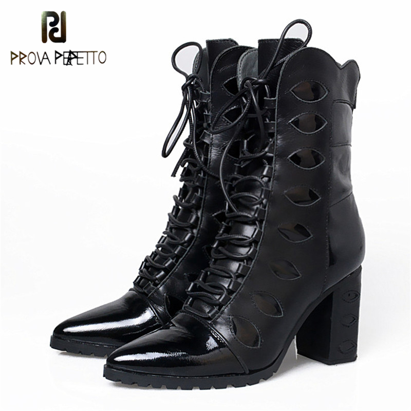 Prova Perfetto Hollow Out Cross-tied Chunky Heels Mantin Boots Patent Leather Patchwork Pointed Toe Super Heel Women Mid Boots lace patchwork hollow out shirt