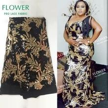 Золотая и Черная кружевная ткань в нигерийском стиле, расшитая блестками, вечерние платья, высококачественные блестки, сетка для свадьбы