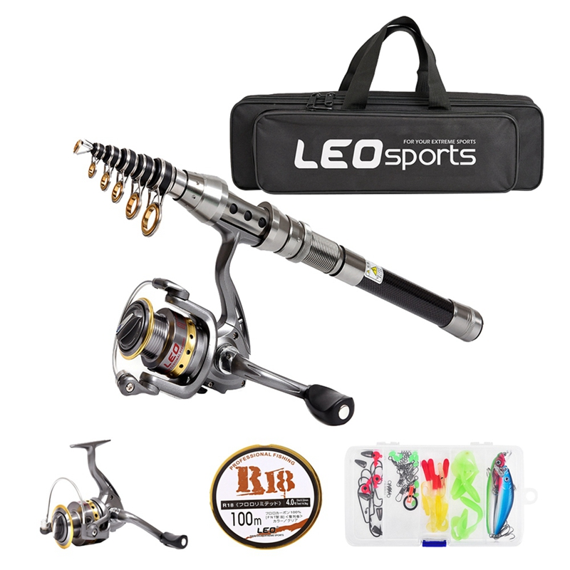 Pole-Set Fishing-Reel-Gear Combo Telescopic Spinning And Leo With 100M Full-Kit