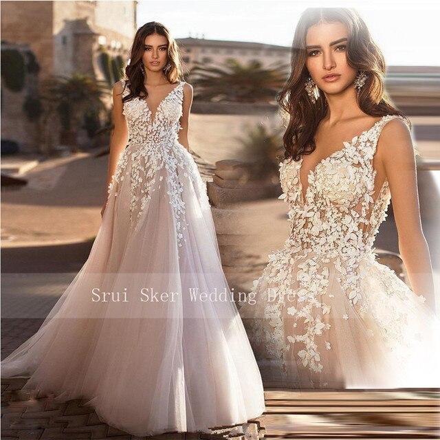 Marvelous champagne V ausschnitt Hochzeit Kleider 3D Floral Applizierte Spitze Brautkleider Tüll vestido de novia Plus größe