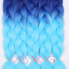 MISS WIG Ombre Kanekalon Jumbo Braids Synthetic Braiding Hair 88Color Available 24Inch Hair Extension Pink Blue Brown 1pce(China)