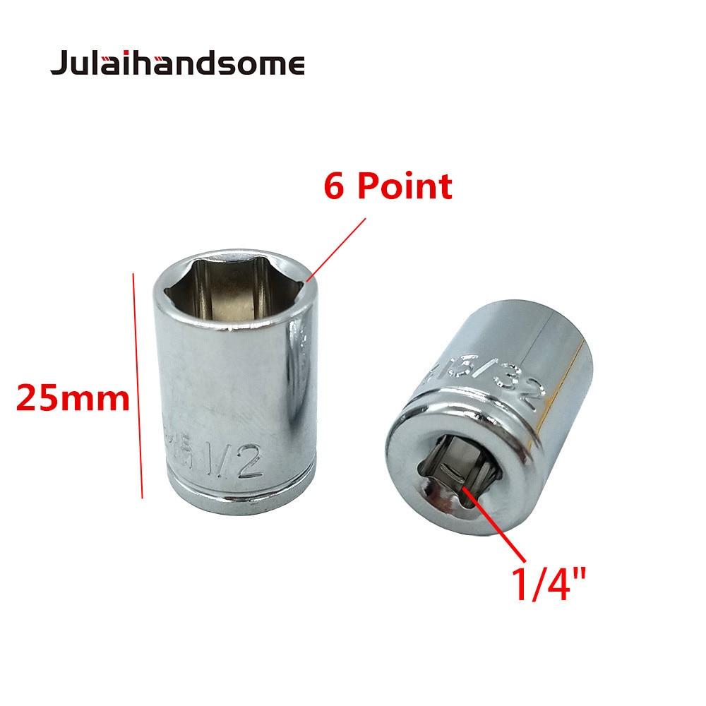 שליכט אקרילי Julaihandsome 12PC 1/4 אינץ SAE Sockets Set 5/32 3/16 7/32 1/4 9/32 5/16 11/32 3/8 7/16 15/32 1/2 9/16 סט כלי CRV 25mm יד (4)