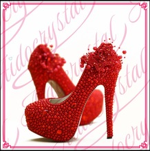 Aidocrystal Gorgeous New Design Beautiful Bridal Shoes Red Pearl 16cm High Heel Platform Wedding Party Shoes