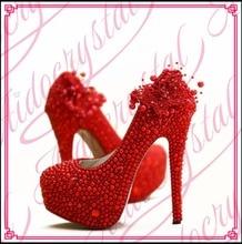 Aidocrystal Wunderschöne Neue Design Schöne Brautschuhe Rote Perle 16 cm High Heel Plattform Hochzeit Schuhe