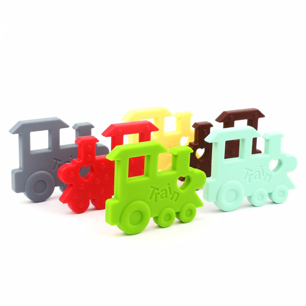 TYRY.HU 1 piece Silicone Teether Train Pendant baby Teething beads DIY Necklace Toy Infants Bpa Free Food Grade Silicone