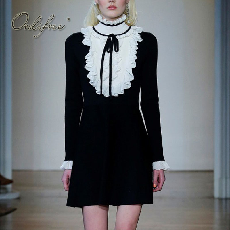 Ordifree 2018 Lolita Dress Gothic Turtleneck Sweater Dress Long Sleeve White Black Ruffle Cute Women Knitted Dress