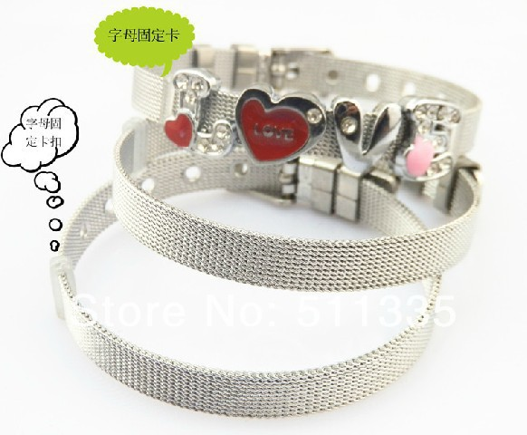 Wholesale 30strips 8mm wide 21cm length stainless steel bracelet wristband fit for 8MM diy slide letters