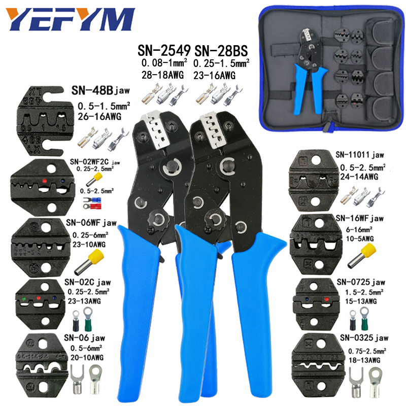 Crimping Tools Pliers Set For XH2.54 Pulg/tubular/tube/insulated Terminals SN-28BS SN-2549 8 Jaw Kit Electrical Pressing Pliers(China)