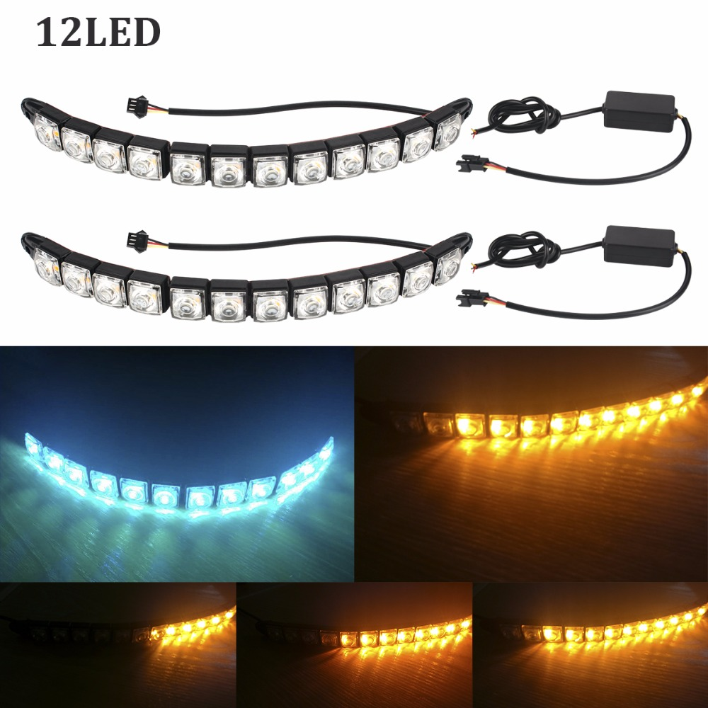 2Pcs DRL LED Car Flowing Daytime Running Lights 12 LED DC 12V Auto Fog Light Driving Lamps Car-styling Super Bright h1 super bright white high power 10 smd 5630 auto led car fog signal turn light driving drl bulb lamp 12v