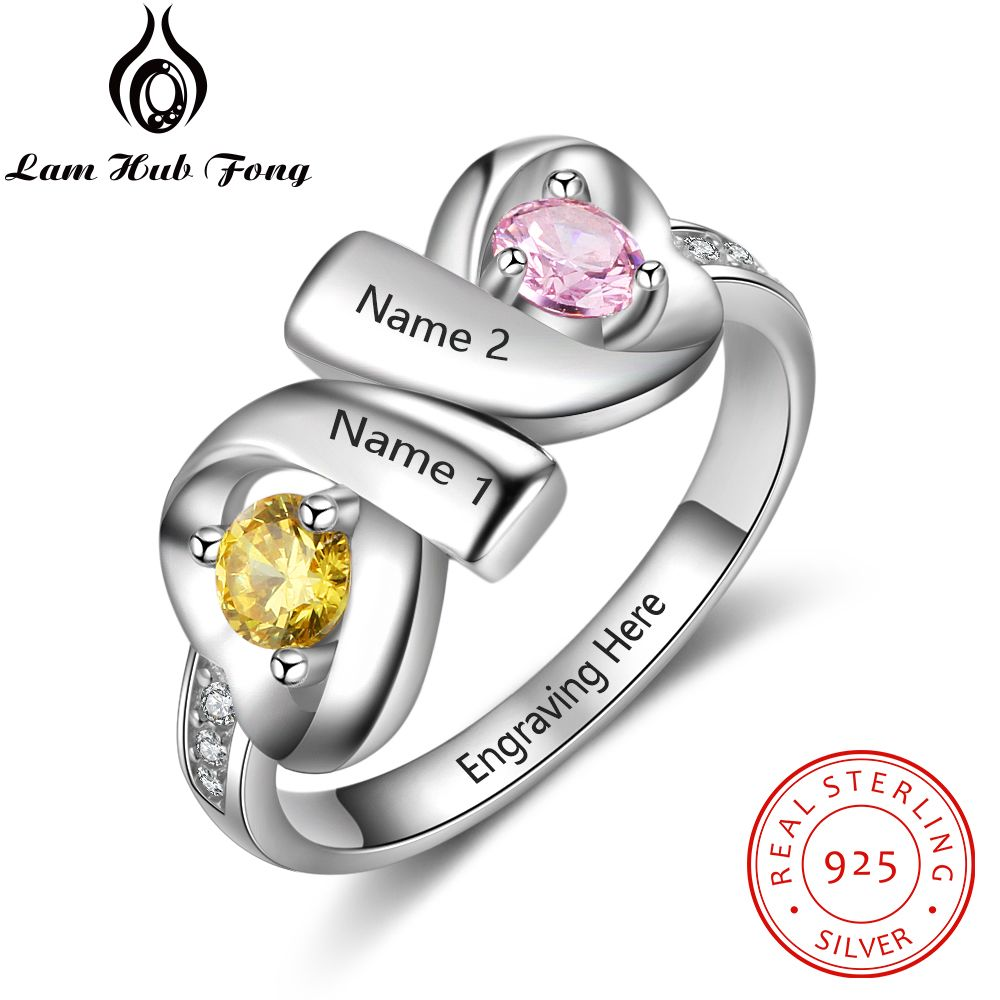 Double Heart Personalized 925 Sterling Silver Engraved Name Ring Customized Birthstone Ring Romantic Gift for Wife(Lam Hub Fong) caged heart locket infinity ring sterling silver birthstone ring engraved infinity ring mother s gift for grandma