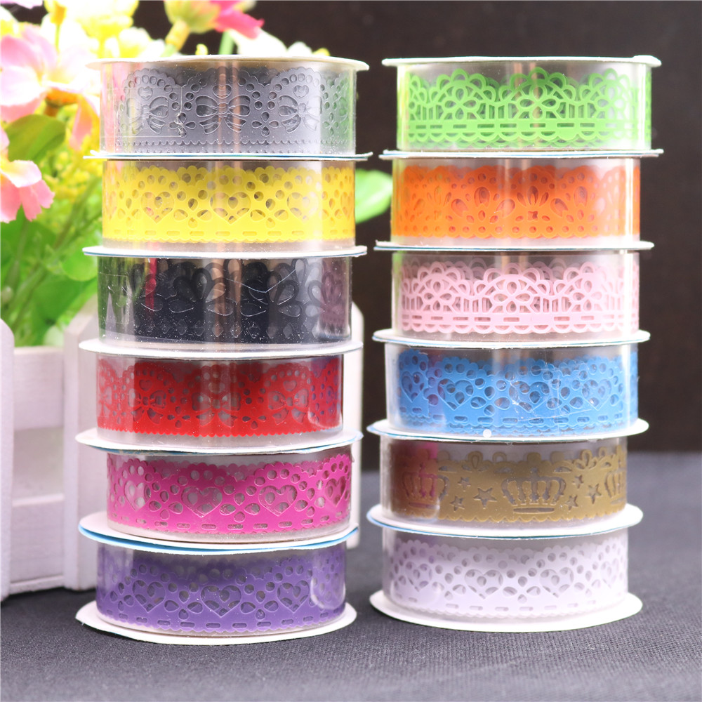 1pcs candy colors lace tape decoration roll diy washi for Decoration masking tape