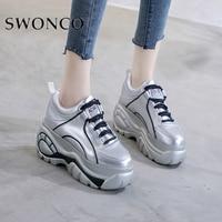 SWONCO Sneakers Shoes Woman High Platform 2019 Whtie Shoes Casual Woman Platform Sneakers On Chunky Heel Black Sneaker For Woman