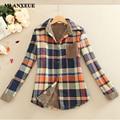 2016 novos inverno mulheres camisa mais grossa de veludo casacos da longo-luva camisa xadrez de algodão fino mulheres clothing assentamento quente camisa