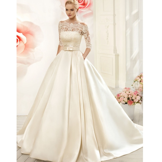 2017 Satin Luxruy Ball Gown Lace Wedding Dresses 2015 Satin With ...