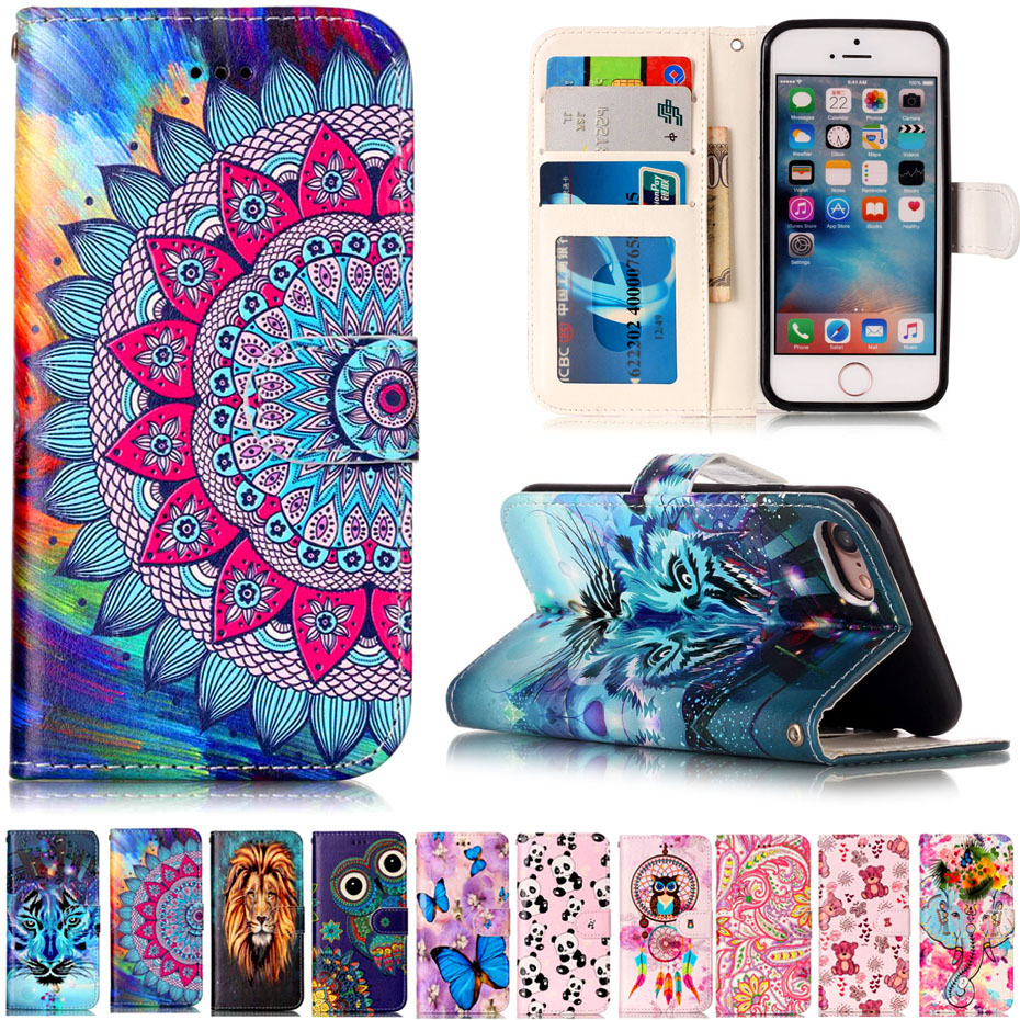 3D Relief Pattern Leather Case for iPhone X 8 Plus 5 5S Flip Wallet PU Leather Painted Card Holder For iPhone 7 Plus 6 6S Plus