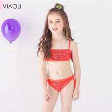 caa82f0a676 2-12years children swimwear falbala girls swimwear baby kid biquini  infantil swimsuit shiny bikini 2018