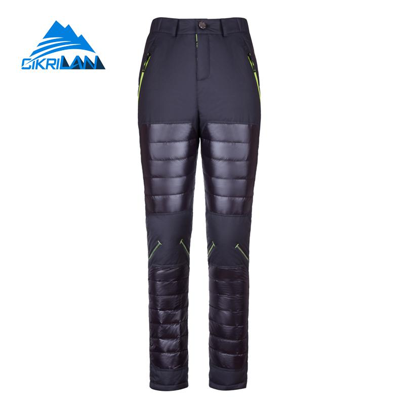 Hot Winter Ultra-light Warm Hiking Camping Duck Down Trousers Outdoor Snowboard Ski Pants Women Windstopper Pantalones Mujer hot sale water resistant outdoor sport hiking camping trousers warm softshell pants women windproof climbing pantalones mujer