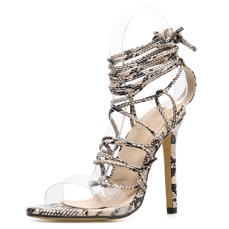 TINGHON Summer Women Sandals Ankle Strap High Heels PU Serpentine Print Sexy Lace Up Thin Heel Sandals in High Heels from Shoes