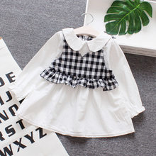 New first birthday girl party birthday dress peter pan collar button plaid cotton cute autum long sleeve baby girls dress(China)