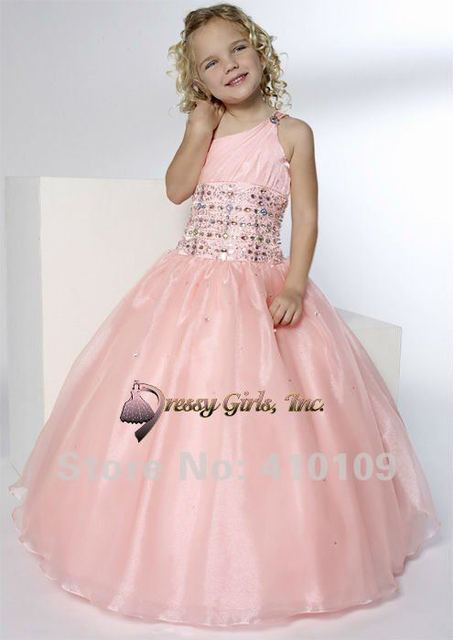 Free Shipping One Shoulder Pink Squined Custom Made Tulle RMG 056 Flower Girl Dress / Child Dress/Ball Gown Dresses/ girls' gown