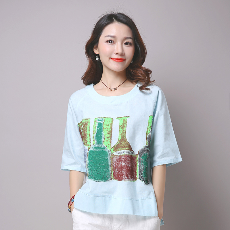 2016 A-line Boat Neck Silk Woolen Full -line Solid Nkle-length Boat Neck Summer Cotton T-shirt Printing Real Simple Coat Loose
