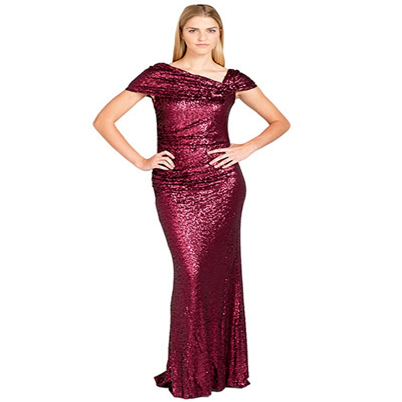 Stunning Sequined Gold Bridesmaid Dress 2016 V Neck Pleats Cap Sleeves A Line Wedding Guest Burgundy In Dresses From