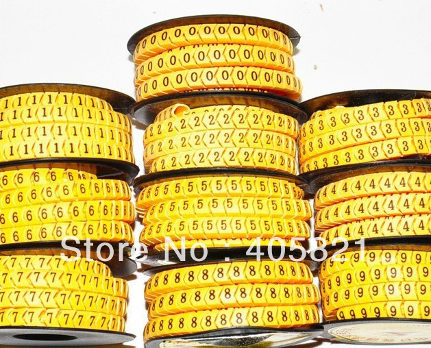 EC-2 number 0-9 Insulate Plastic Round Cable Marker For Cable and Sign 4mm2 10roll/lot