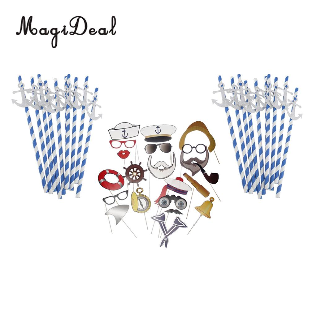 Captain Sailor Photo Booth Props Navy Maritim Background+20x Paper Nautical Anchor Drinking Straws Birthday Party Decoration
