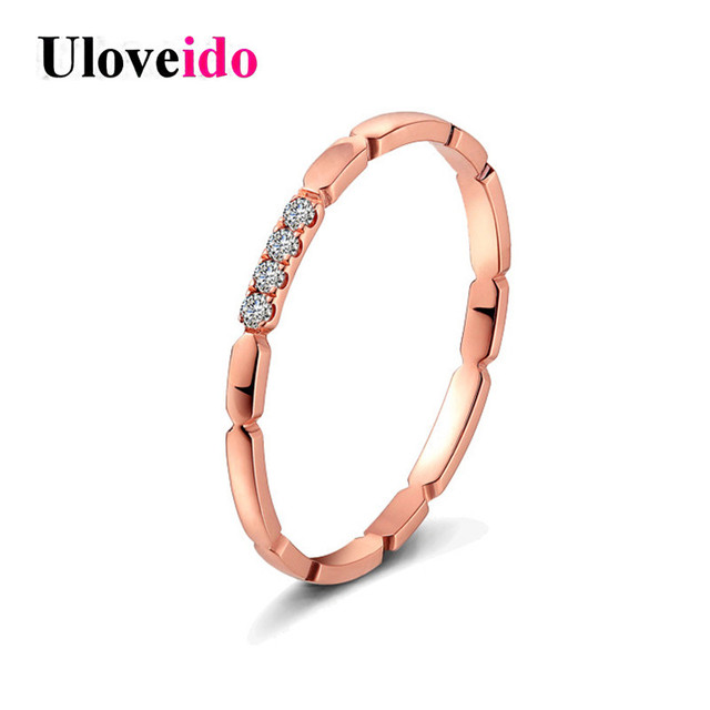 Uloveido Costume Jewelry Rings for Women Engagement Ring Female Rose