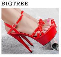 Summer WBridal Wedding Shoes High Heeled 13 15cm Plus Size 34 44 Thick Bottom Platforms Thin