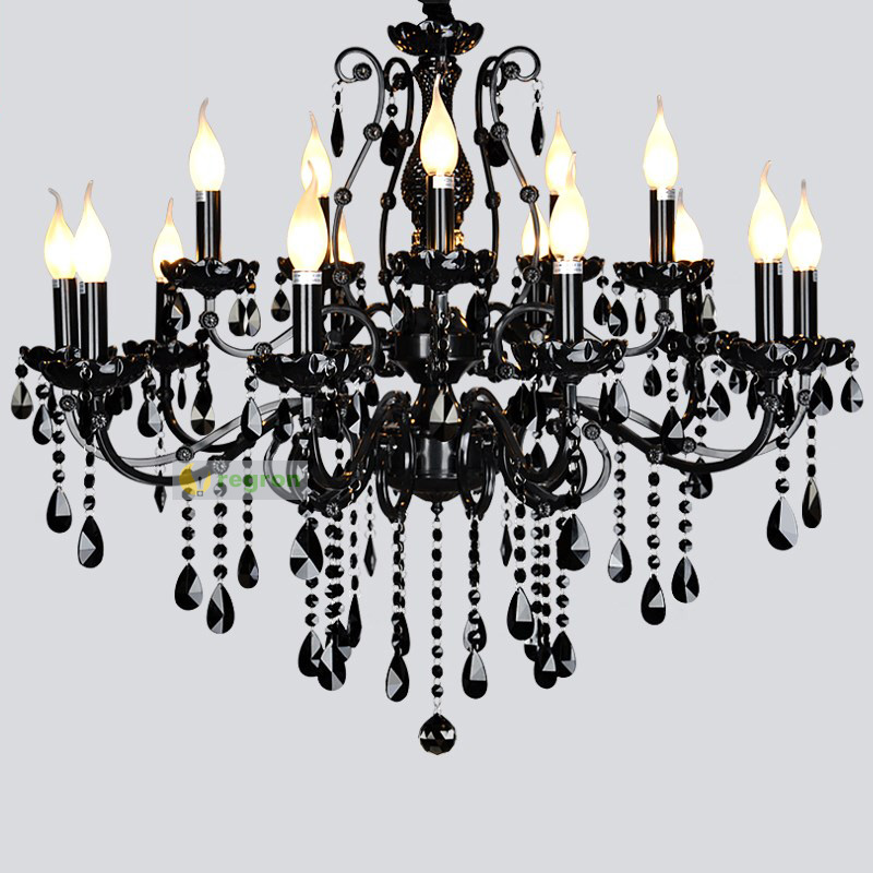 Modern Arm Chandelier: 15 Arm Modern Led Black Chandeliers Luxury Lustres Crystal