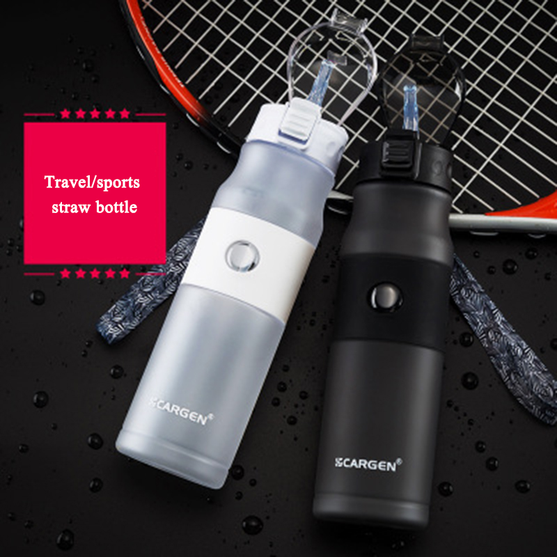 600ml Plastic Water Bottle sport bottle whit straw bottle cap with switch Travel kettle flask bottle for sport running cycling-in Sports Bottles from Sports & Entertainment