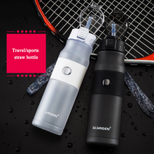 600ml Plastic Water Bottle sport bottle whit straw cap with switch Travel kettle flask for running cycling