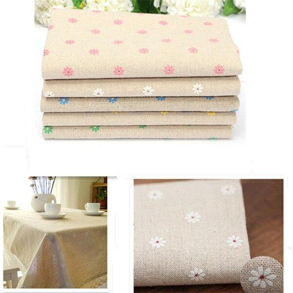 Hot Sale Pastoral Daisy Flower Linen Cotton Cloth Handmade