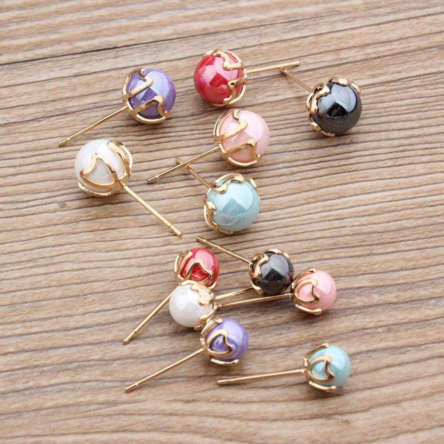 Newest Trendy 6mm Colorful Pearls Decoration Metal Fashion Laddy Stud  Earring Gold Tone Women Earrings