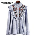 VESTLINDA Floral Embroidered Blouses Femme Tops 2017 Ruffled Collar Long Sleeve Blouse Fashion Women Striped Blouse Femme Blusas