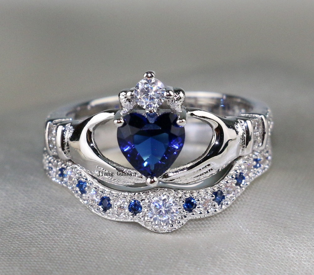 Claddagh Ring White Gold Heart Blue Zircon Wedding Band Cz Women's Engagement  Ring Sets(china