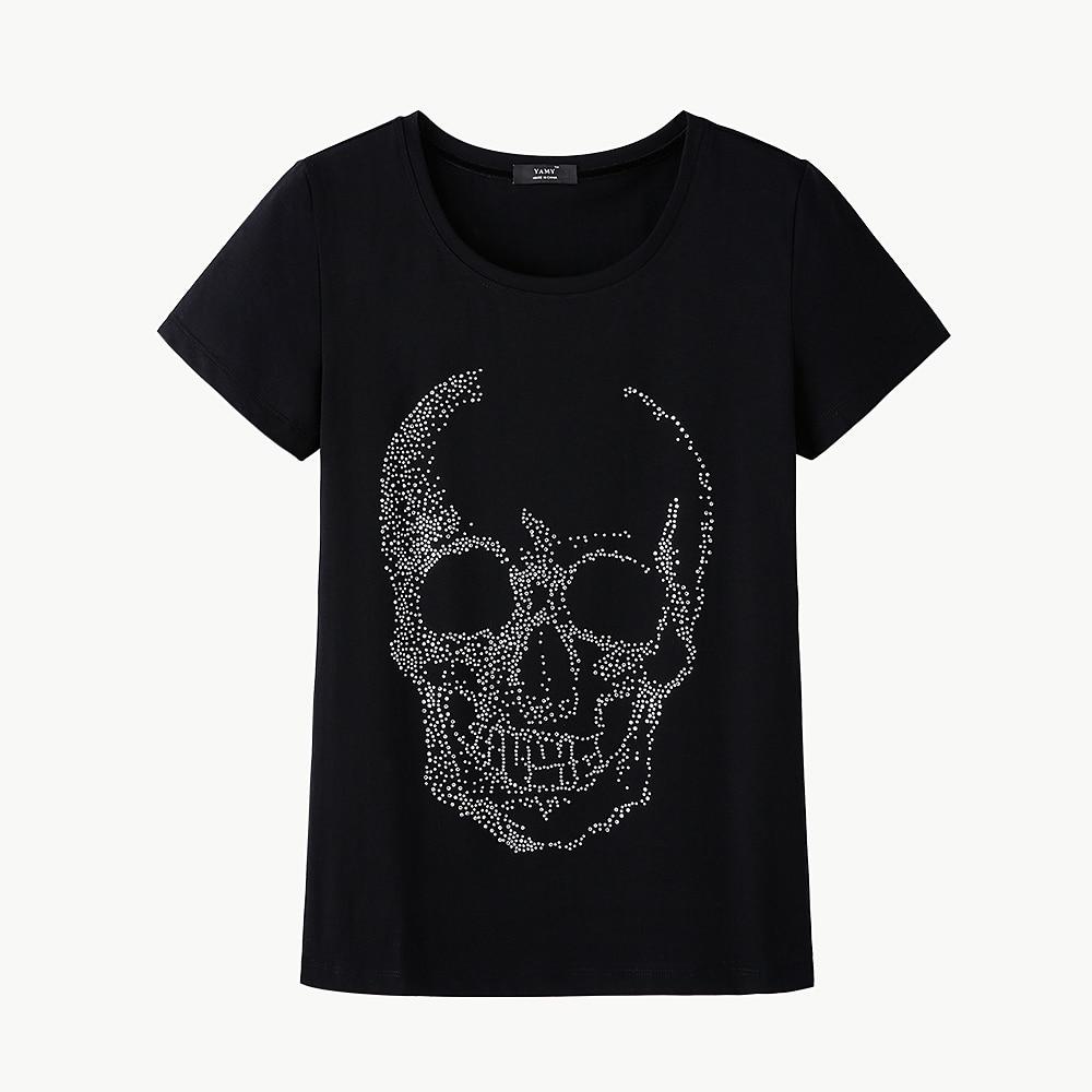 Brand Fashion Women T Shirt 2017 Skull Diamond Women Black -7324