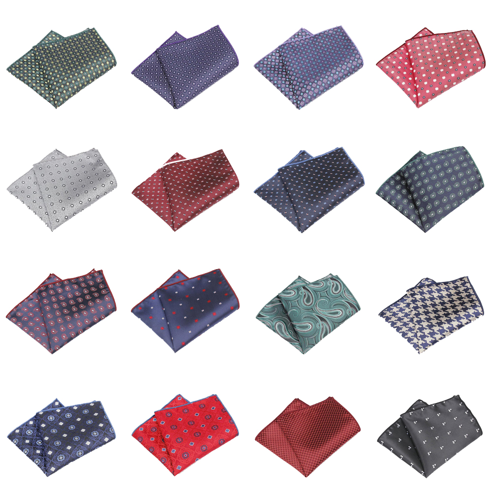 KR1371 New Men's Polyester Silk Handkerchiefs Pocket Squares Dots Paisley Jacquard For Suits Jackets Wedding Party Business