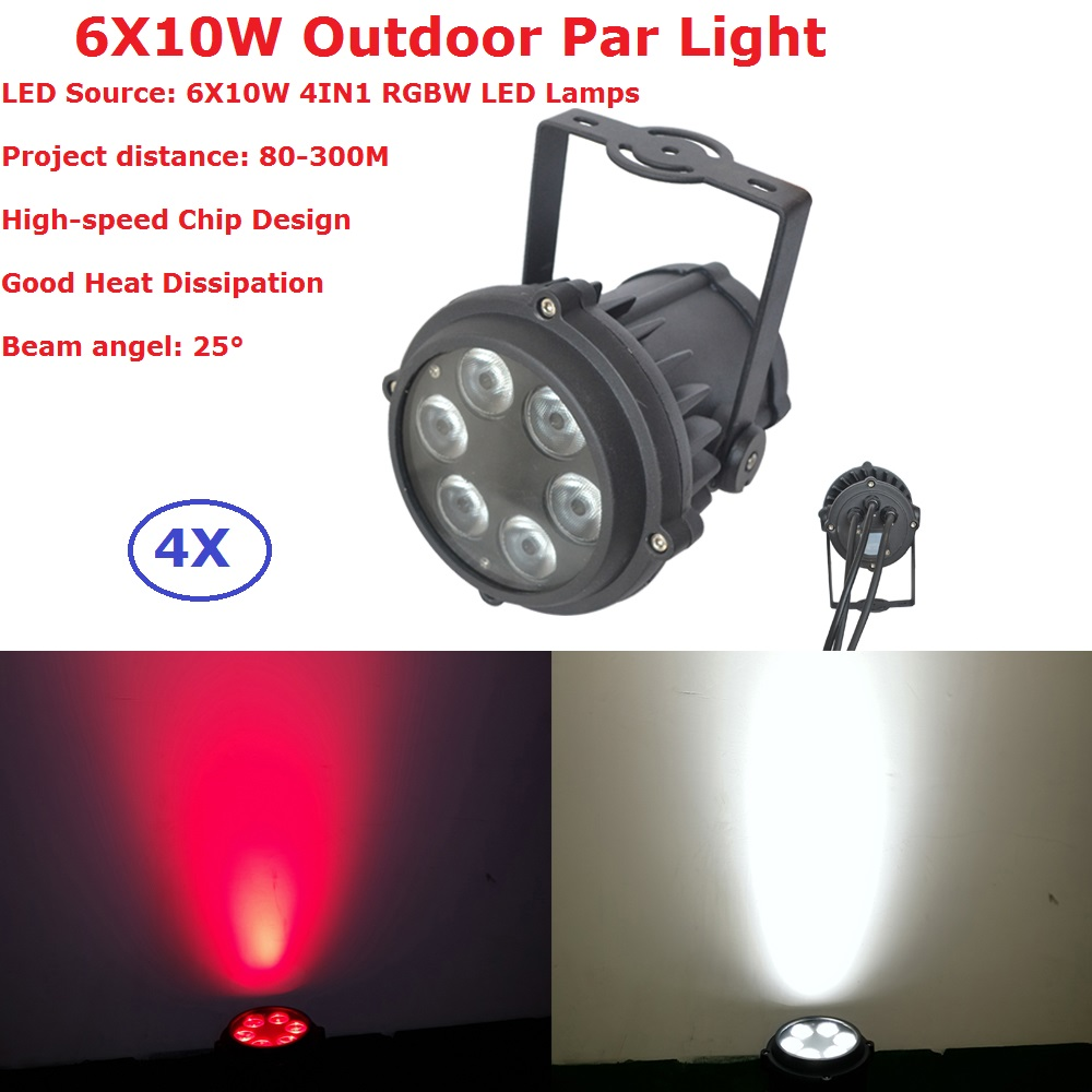 4Pack Outdoor Usage 6X10W RGBW Quad Color Mini LED Par Lights IP65 DMX Waterproof PAR36 Stage Lighting DJ Disco Party Lights