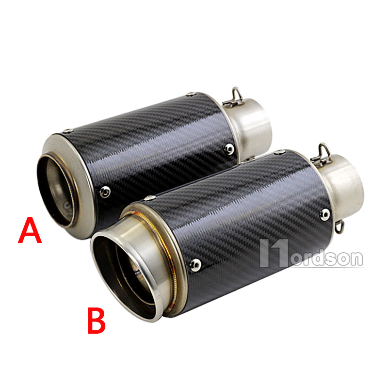 ФОТО Universal 36-51mm Motorcycle Exhaust Pipe Muffler Carbon Fiber Modified Exhaust Pipe For Honda Yamaha R6 R1 YZF 600 cbr400