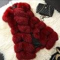 Новый 2016 Прибытие Зима Теплая Женская Мода Импорт Пальто Без Рукавов меховой Жилет Высокого класса Искусственного Меха Лисы Пальто Длинные Жилеты Плюс размер